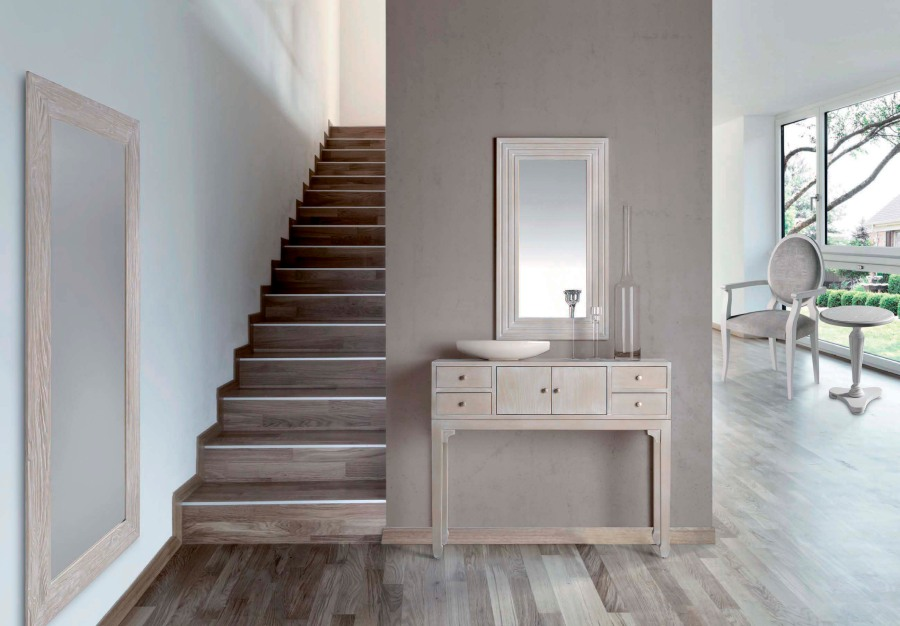 Consola madera en blanco encalada - Villalba Interiorismo