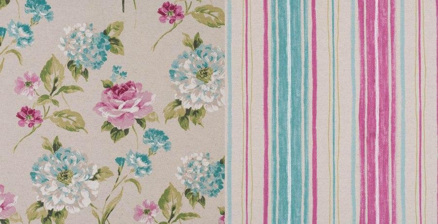 Coordinado de telas flores y rayas - Villalba Interiorismo