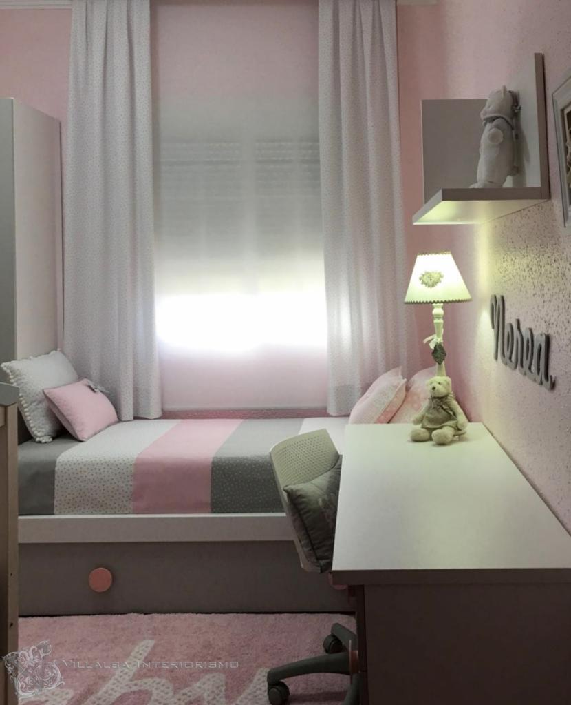 Dormtorio niña en gris y rosa - Villalba Interiorismo
