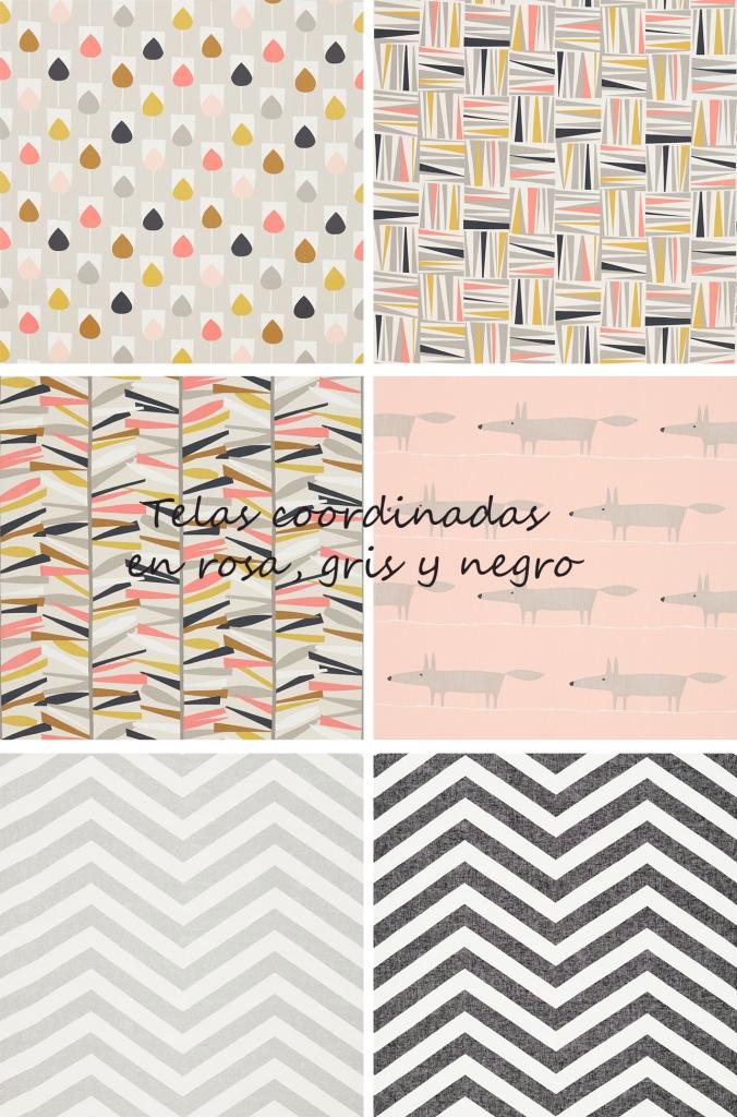 Telas en rosa, gris y negro - Villalba Interiorismo