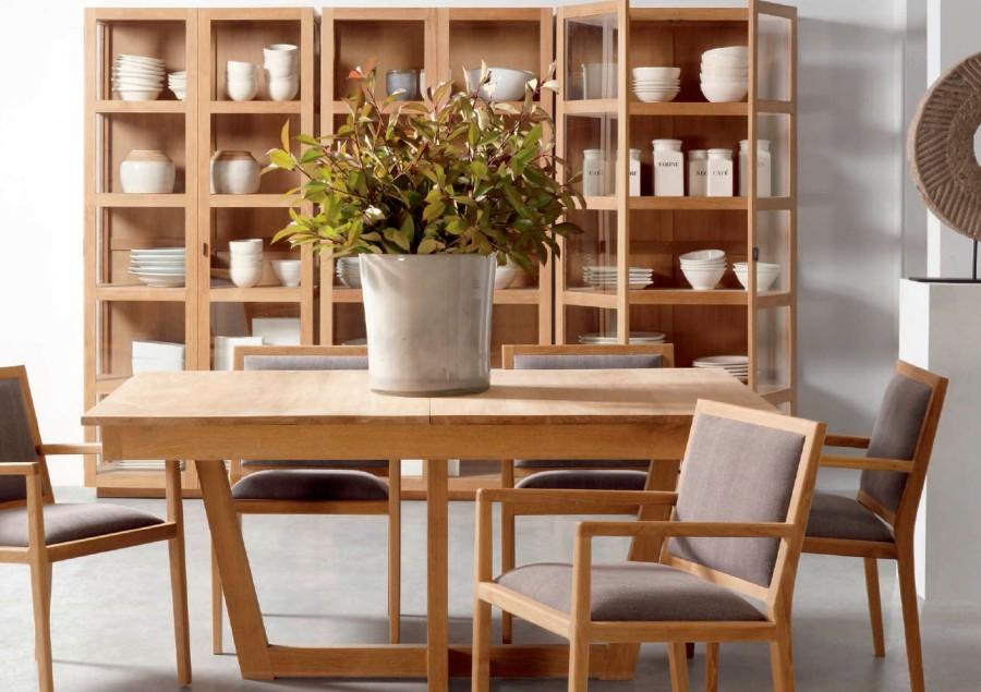 Comedor moderno madera teca - Villalba Imteriorismo