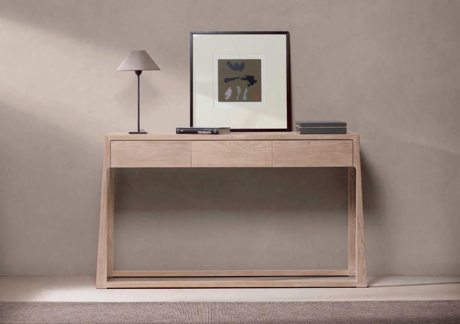 Consola moderna madera teca - Villalba Interiorismo