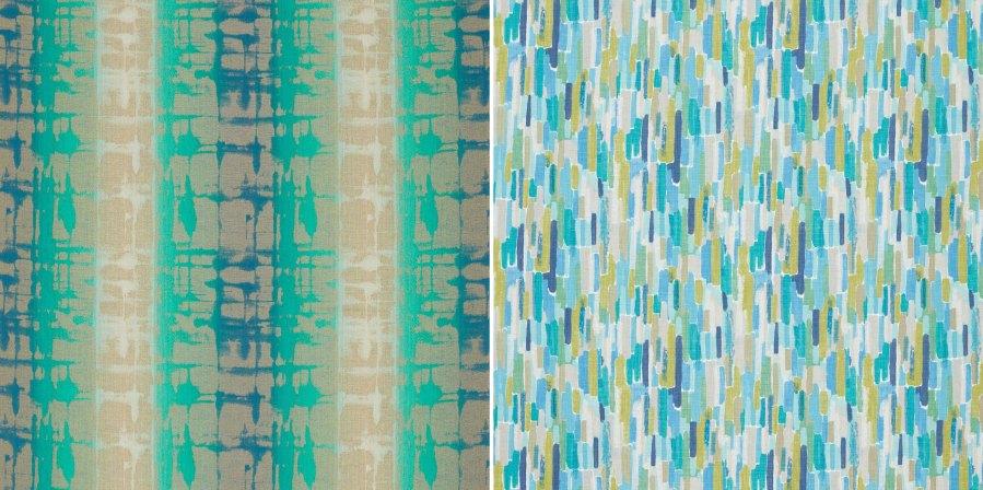 Dobles cortinas y puf con telas Harlequin - Villalba Interiorismo
