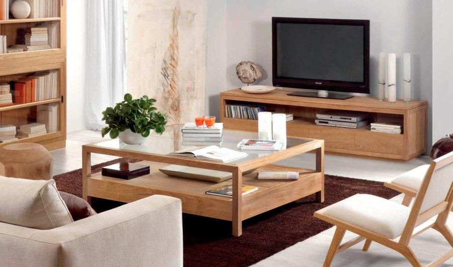 Salón madera teca - Villalba Interiorismo