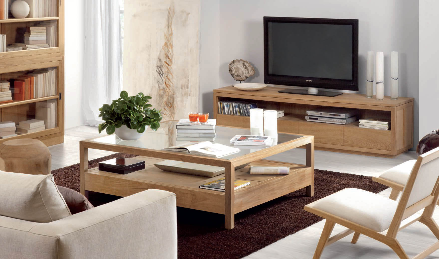muebles de madera teca affordable consola moderna madera