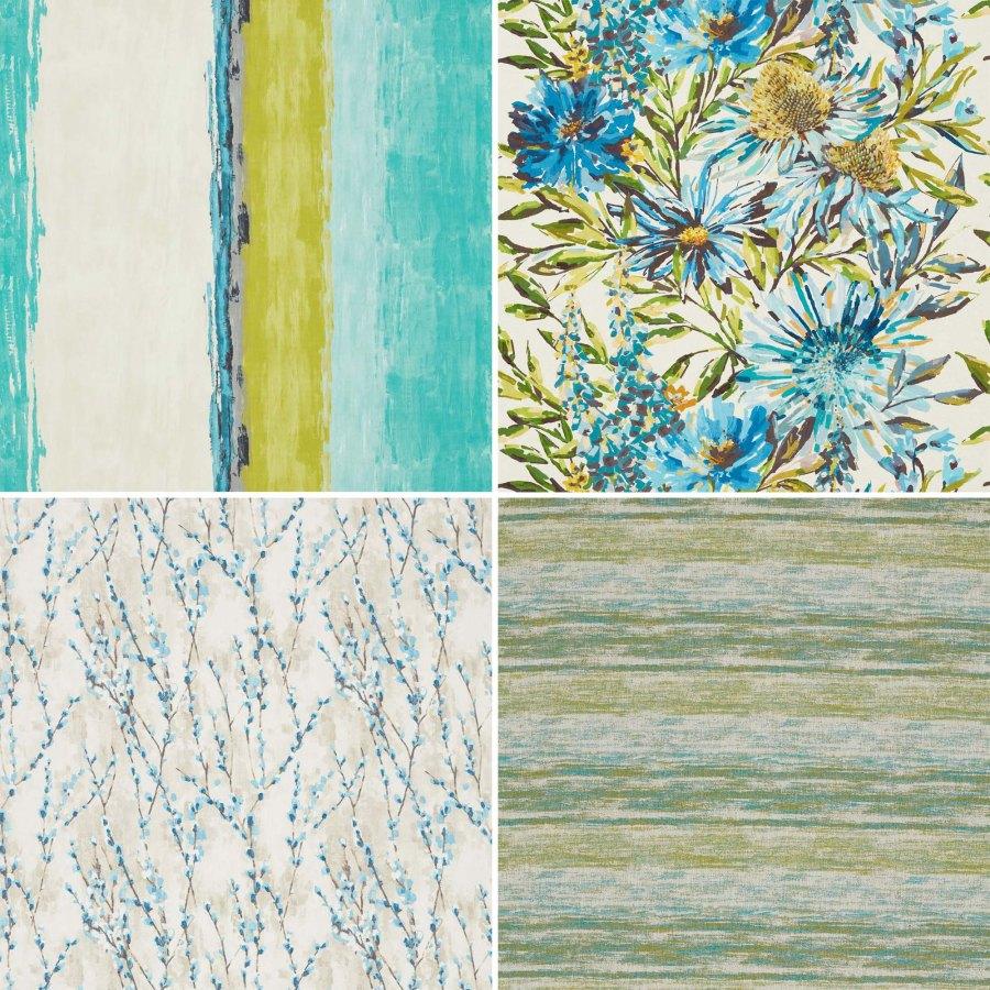 Telas cortinas y tapizar en azul y verde Harlequin 1 - Villalba Interiorismo