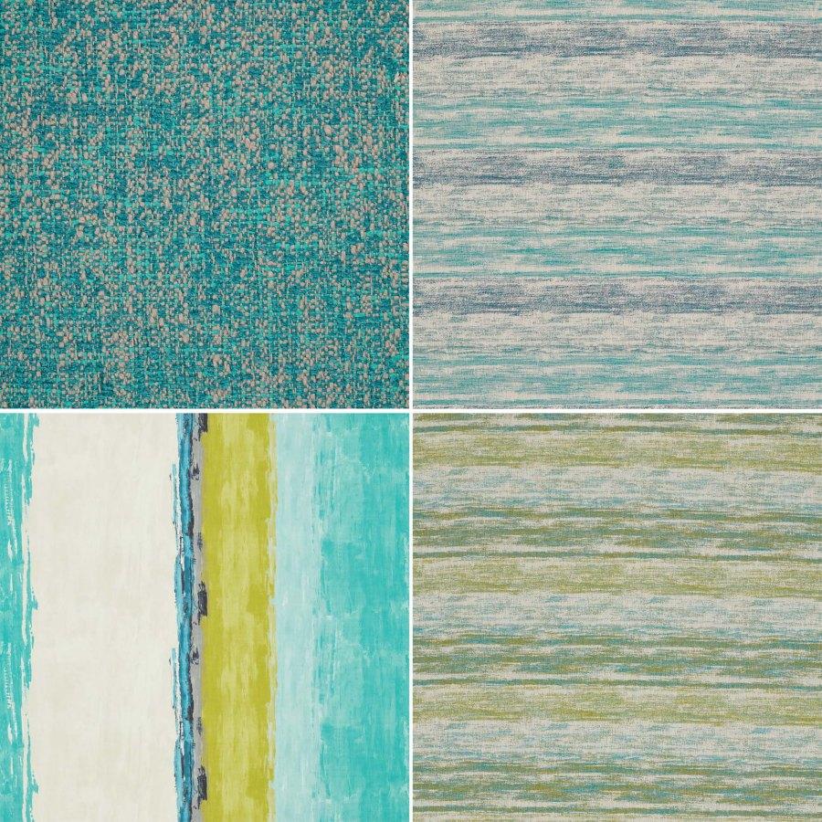 Telas cortinas y tapizar en azul y verde Harlequin - Villalba Interiorismo