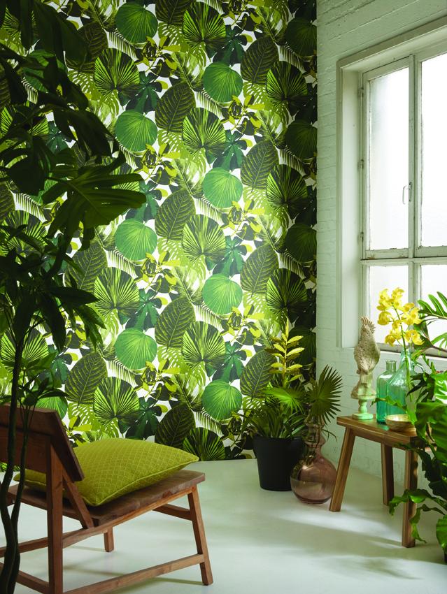Papel pintado con hojas de Khrôma de Coordonné - Villalba Interiorismo