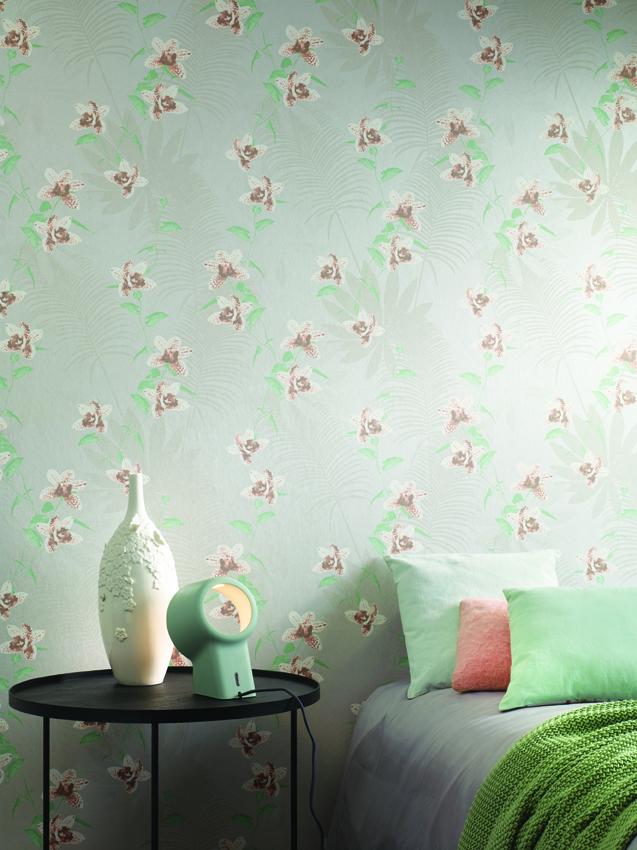 Papel pintado de flores tonos pasteles de Khrôma de Coordonné - Villalba Interiorismo