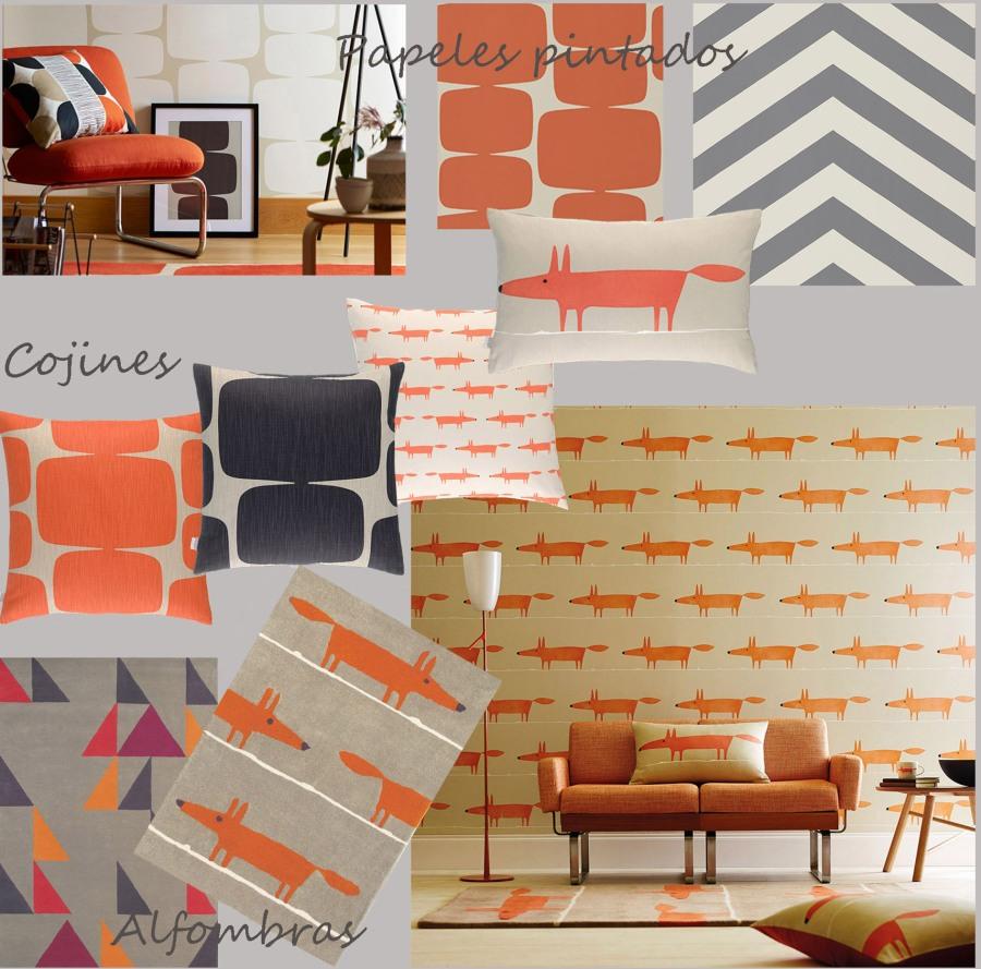 papeles-pintados-alfombras-y-cojines-en-naranja-y-gris-para-habitaciones-chicos-villalba-interiorismo