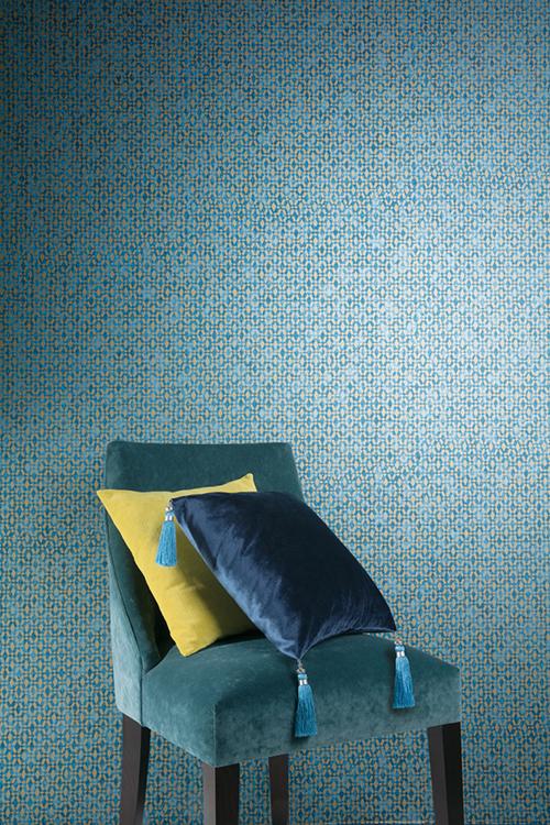 papel-pintado-turquesa-y-dorado-de-khroma-coordonne-villalba-interiorismo