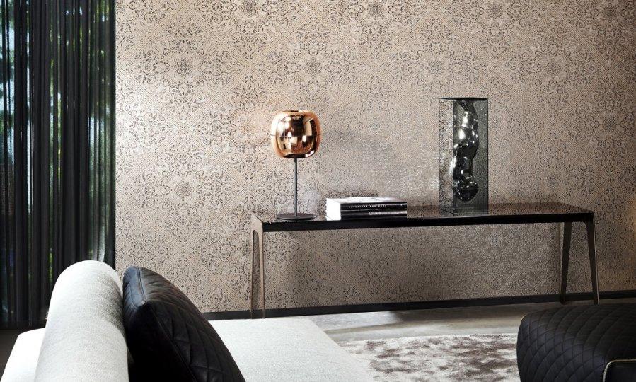 Papeles pintados modernos con textura y brillo villalba interiorismo - Papeles pintados modernos pared ...