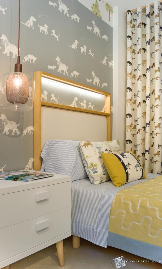 Dormitorio infantil alegre y original con cabezal personalizado