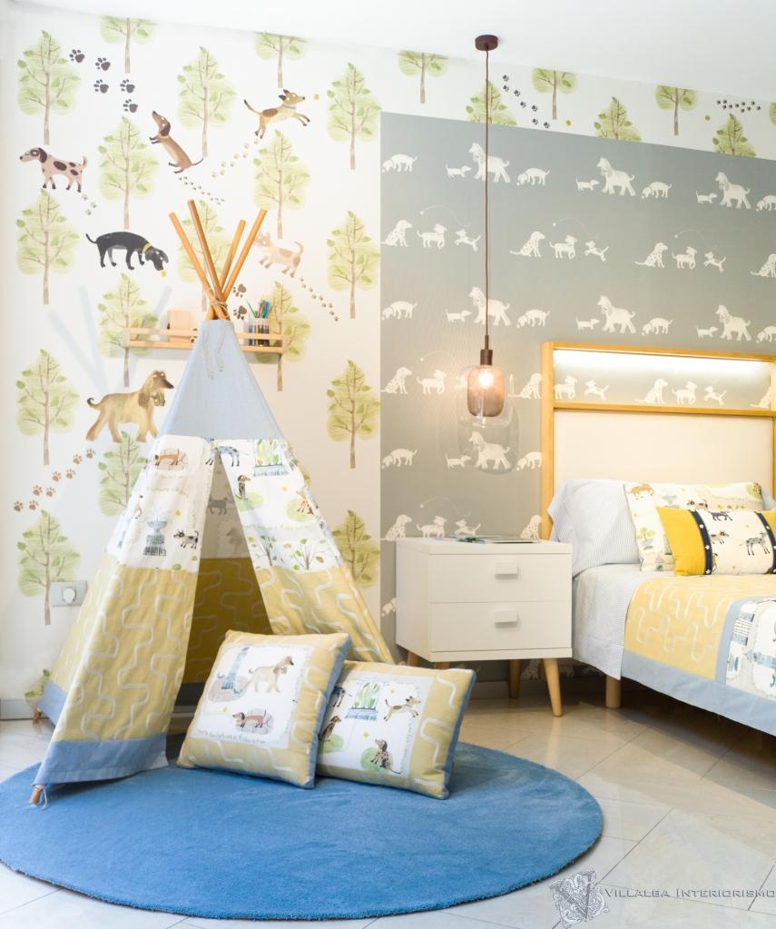Dormitorio infantil alegre y original con tipi personalizado